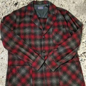 Pendleton Men's Flannel Blazer Red And Black lg